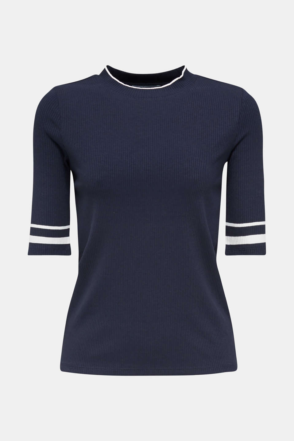 Striped ribbed T-shirt with band collar, NAVY, detail image number 6