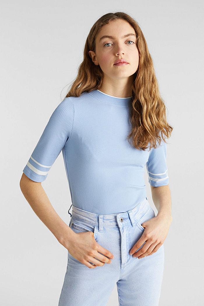 Gestreiftes Ripp-Shirt mit Stehkragen, BLUE LAVENDER, detail image number 0
