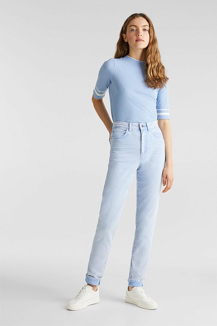 Gestreiftes Ripp-Shirt mit Stehkragen, BLUE LAVENDER, detail image number 1