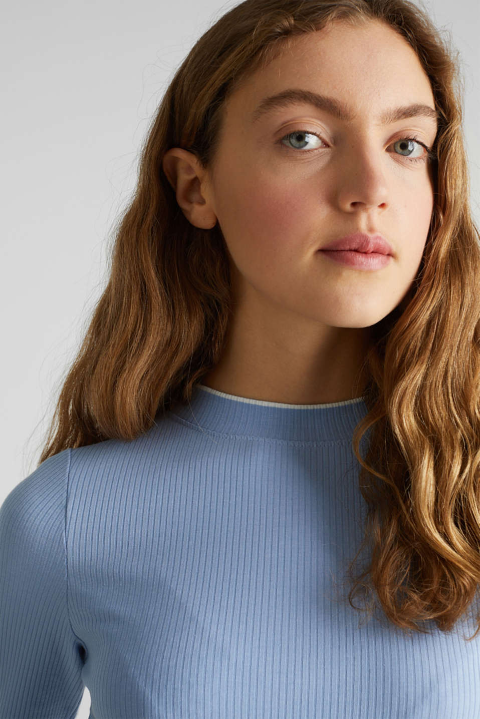 Striped ribbed T-shirt with band collar, BLUE LAVENDER, detail image number 2