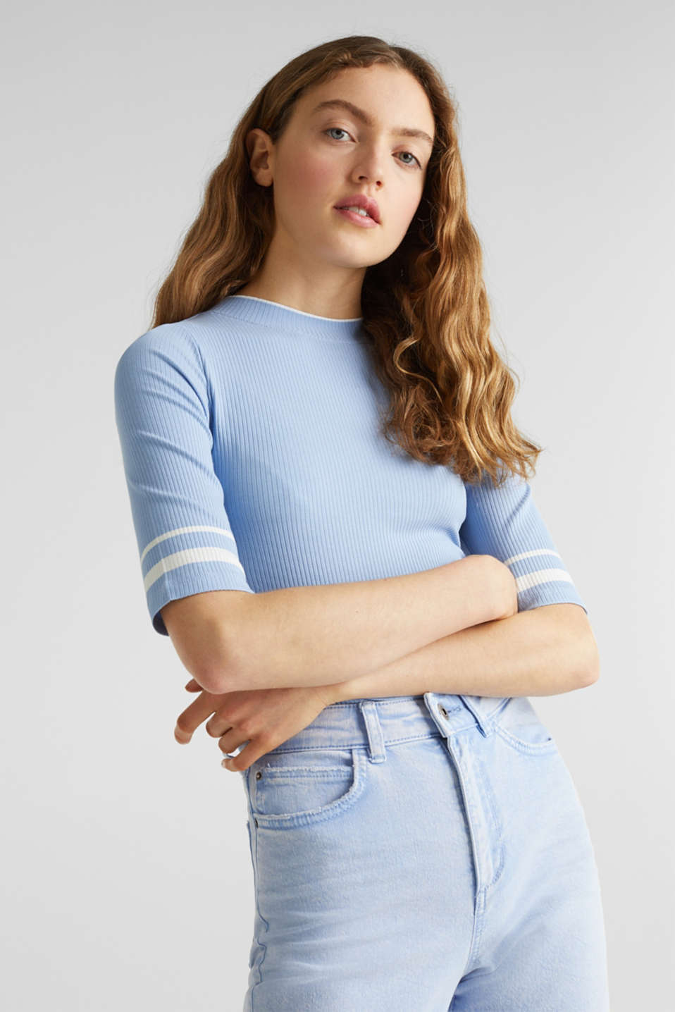 Striped ribbed T-shirt with band collar, BLUE LAVENDER, detail image number 6