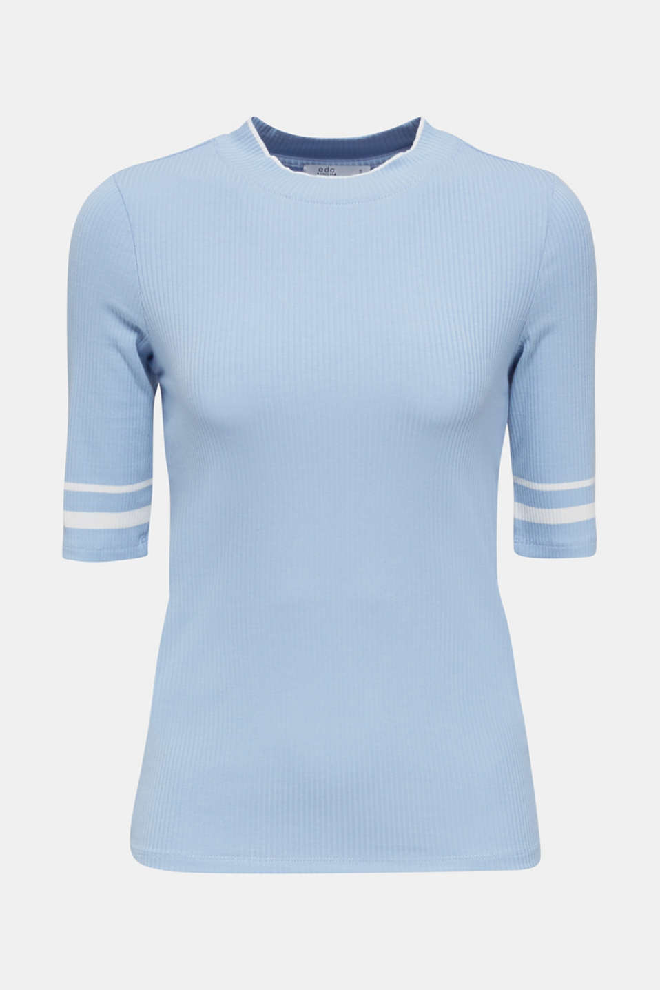 Striped ribbed T-shirt with band collar, BLUE LAVENDER, detail image number 8