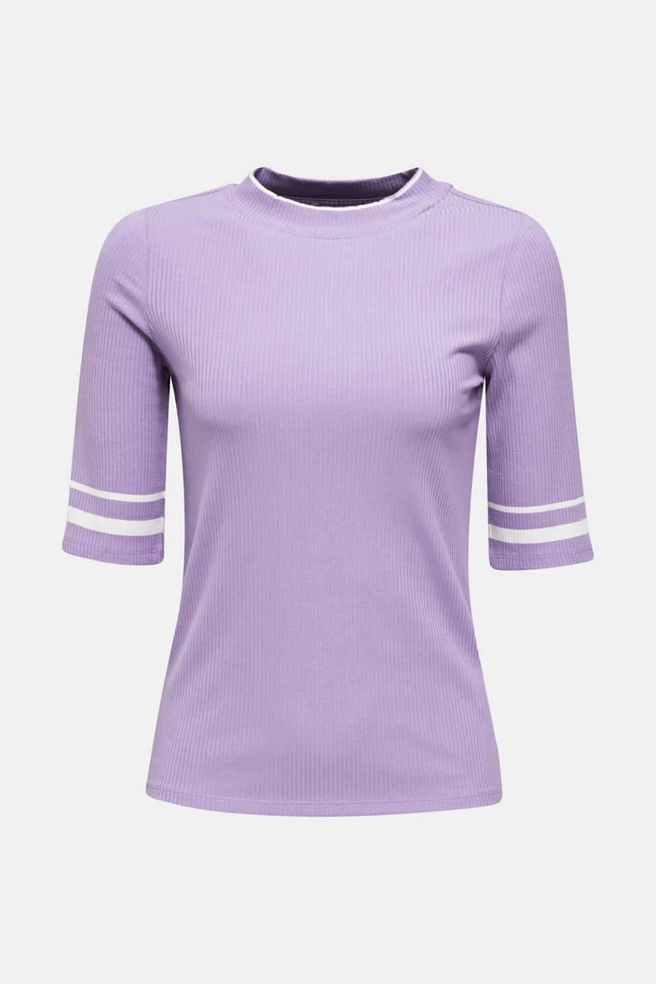 Striped ribbed T-shirt with band collar, LILAC, detail image number 5