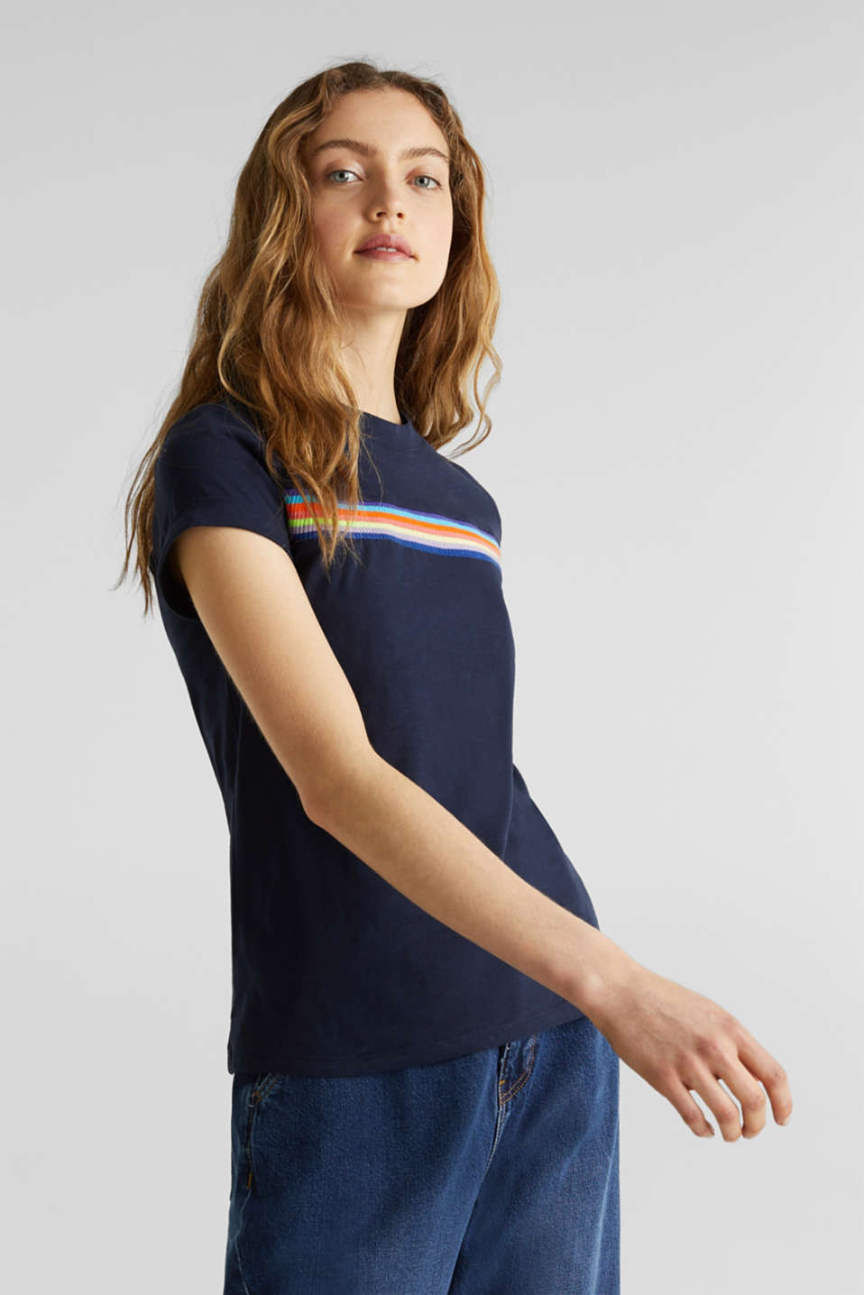 Slub top with knit trims, NAVY, detail image number 0