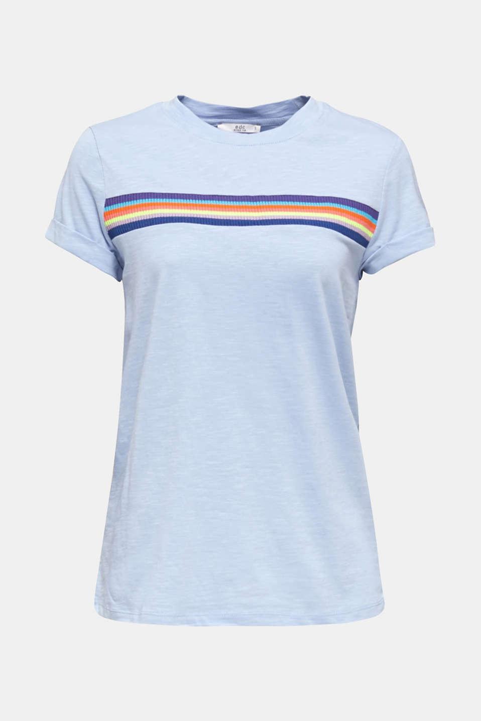 Slub top with knit trims, BLUE LAVENDER, detail image number 5