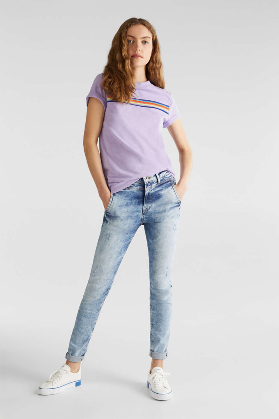 Slub top with knit trims, LILAC, detail image number 1