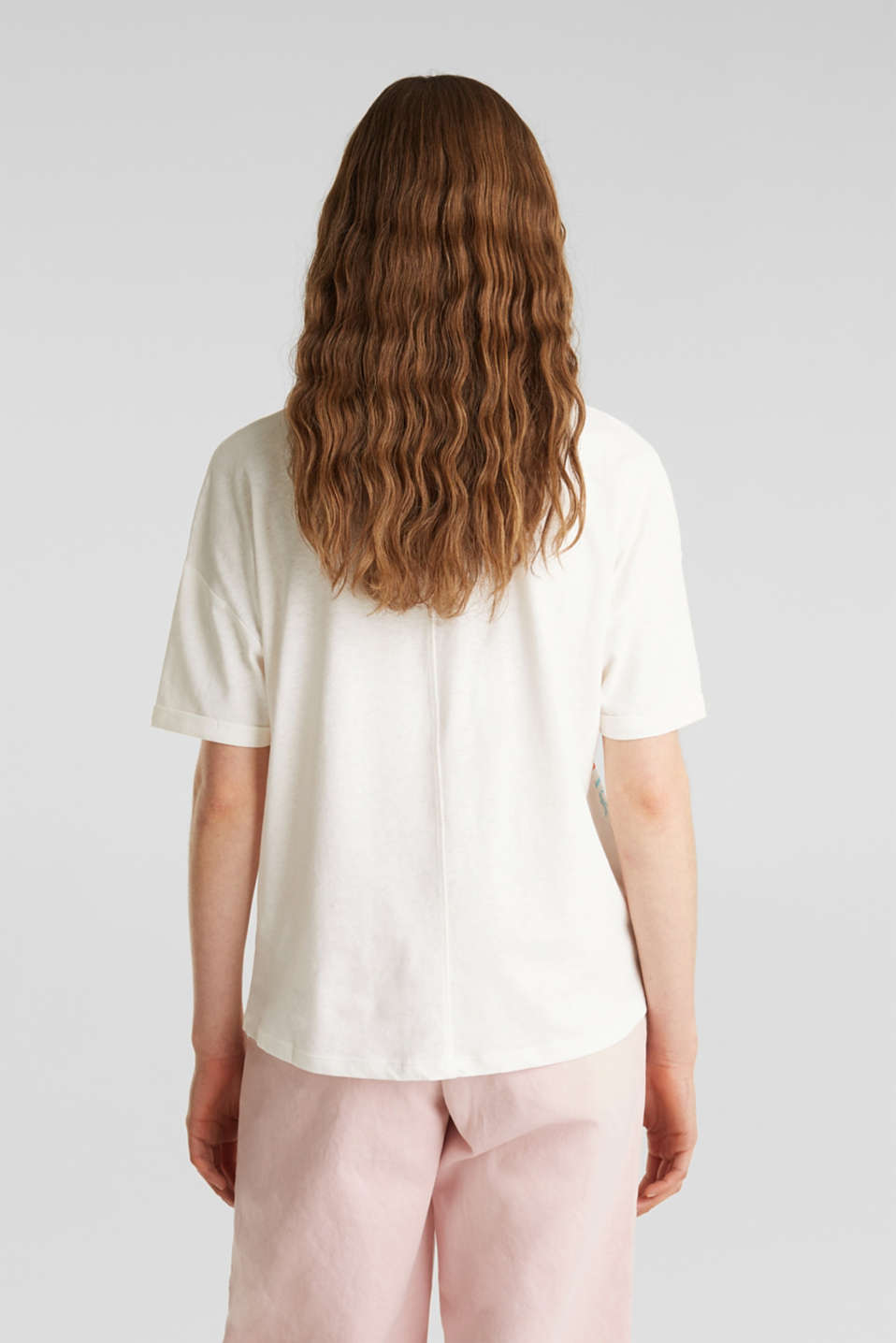 Blended linen: boxy top with a logo print, OFF WHITE, detail image number 3
