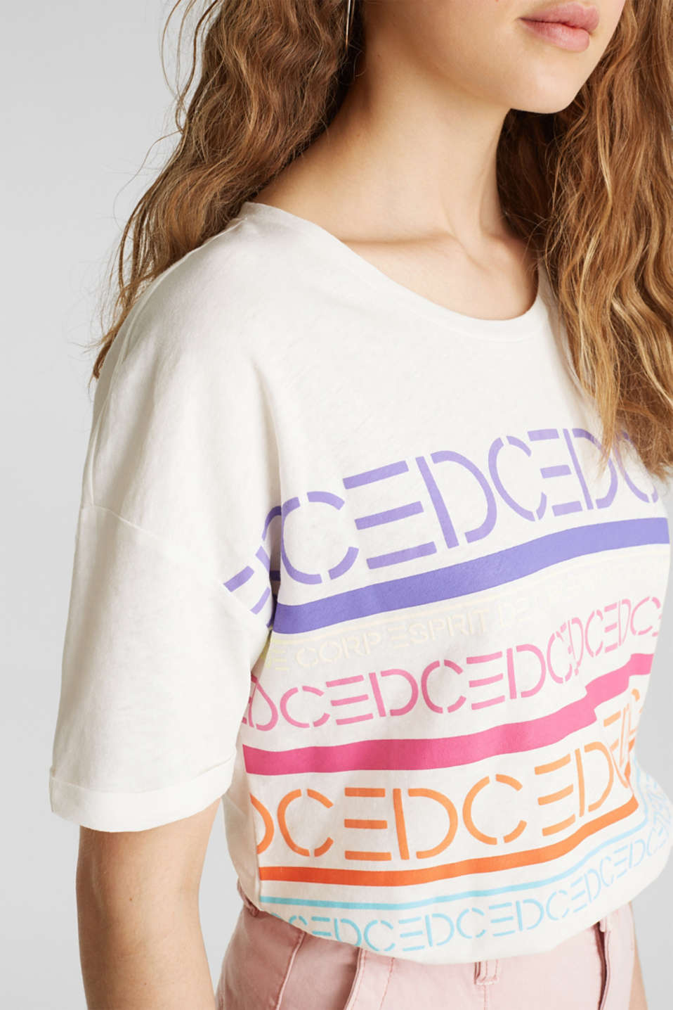 Blended linen: boxy top with a logo print, OFF WHITE, detail image number 2