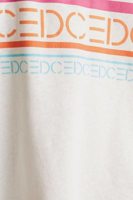 Blended linen: boxy top with a logo print, OFF WHITE, detail