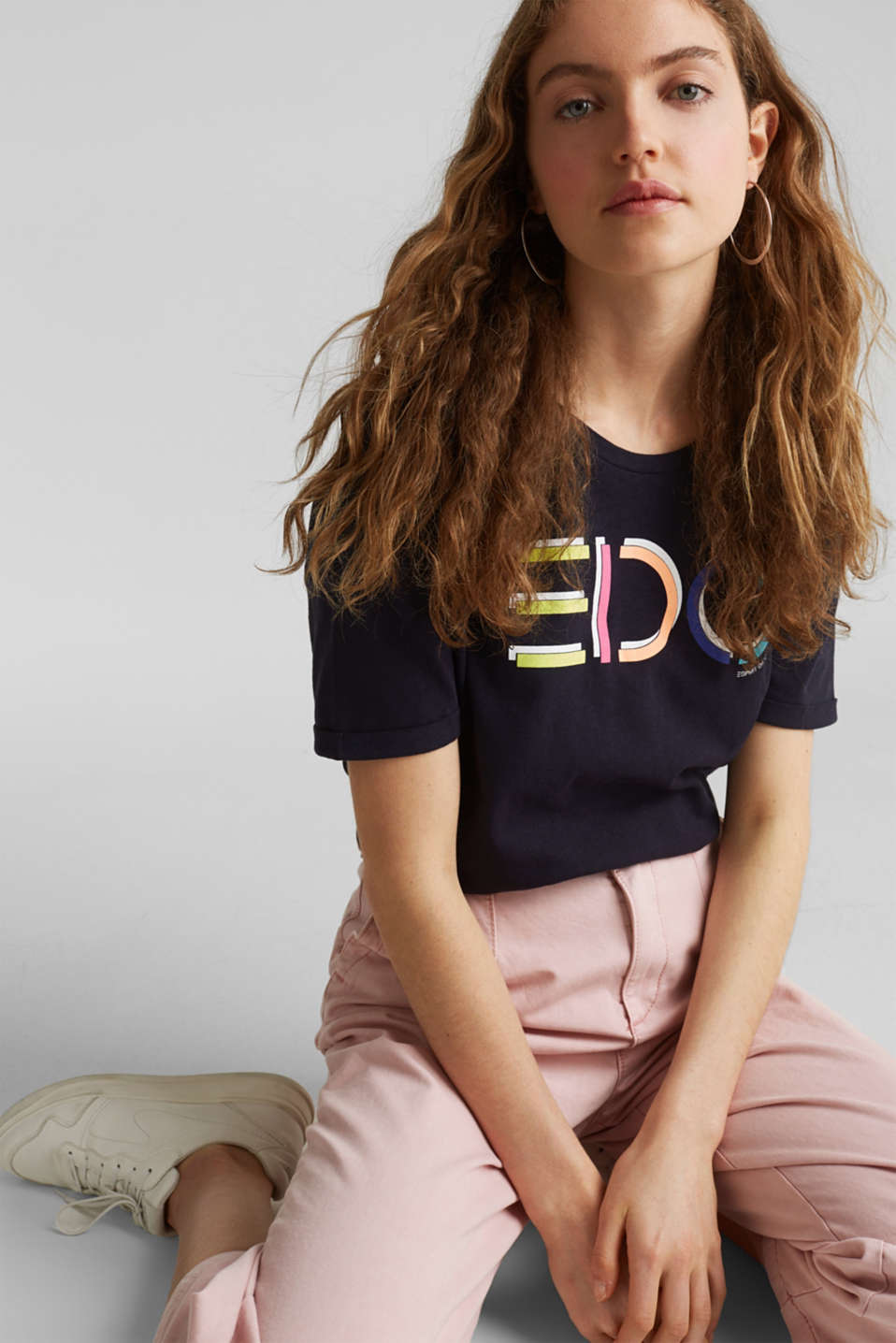 Blended linen: boxy top with a logo print, NAVY, detail image number 5