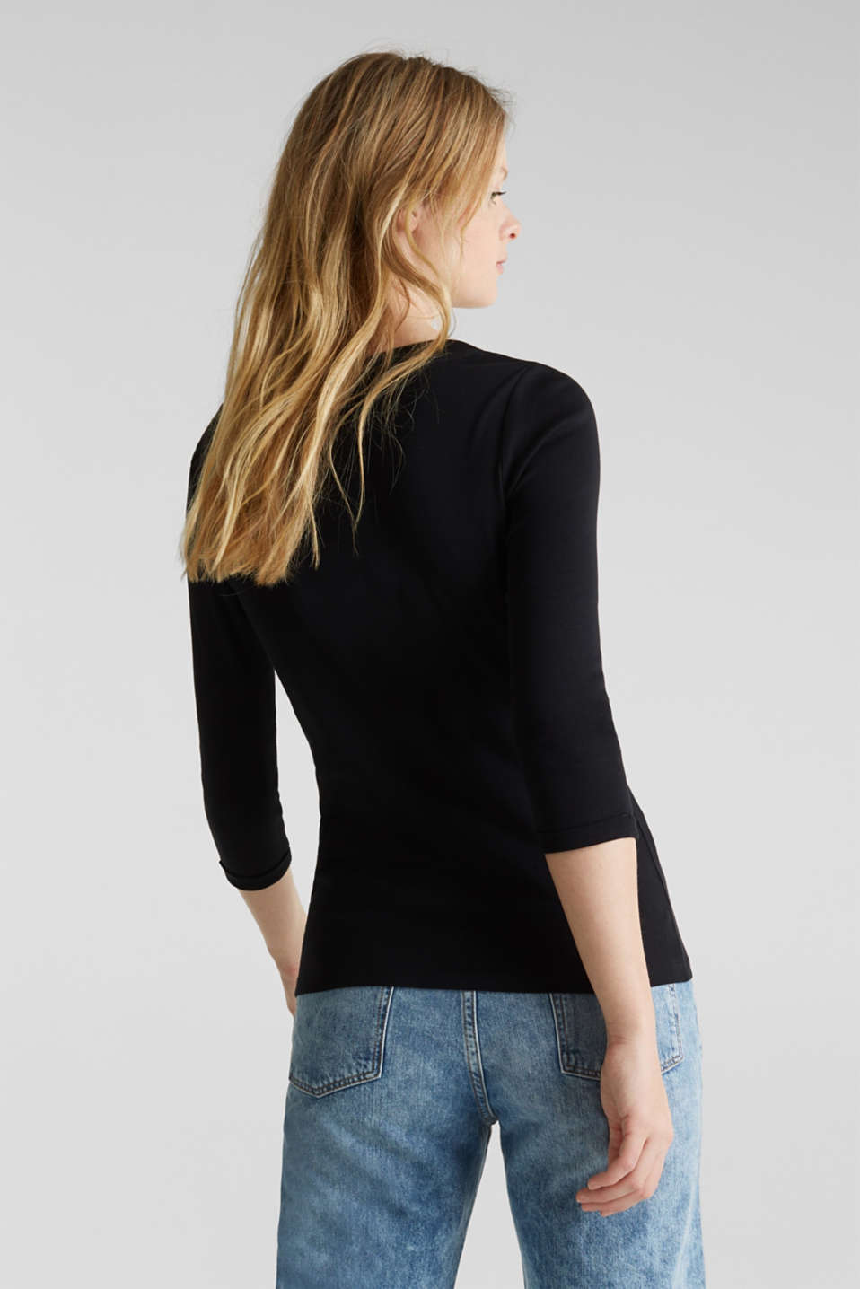 Finely ribbed, long sleeve top, 100% cotton, BLACK, detail image number 2