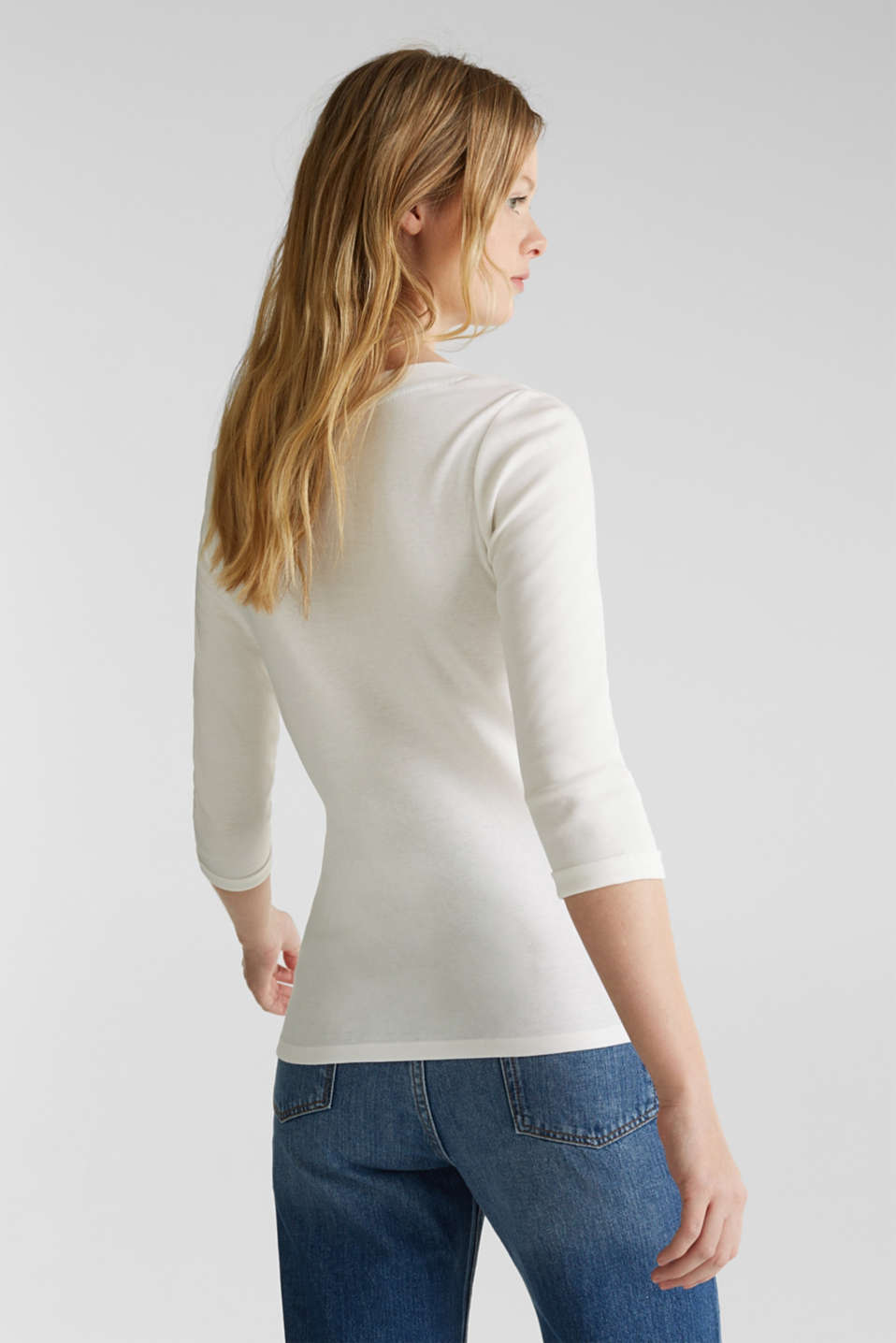 Finely ribbed, long sleeve top, 100% cotton, OFF WHITE, detail image number 3