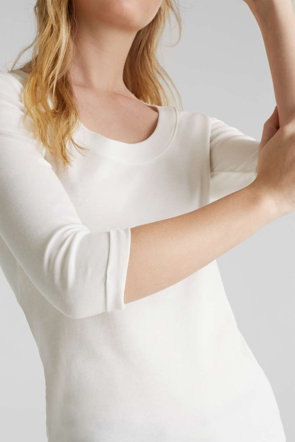 Finely ribbed, long sleeve top, 100% cotton, OFF WHITE, detail image number 2