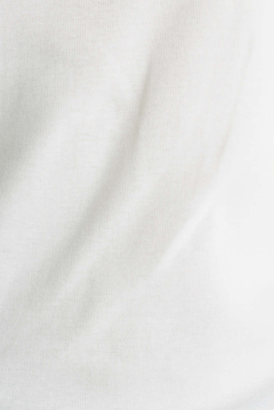 Finely ribbed, long sleeve top, 100% cotton, OFF WHITE, detail image number 4
