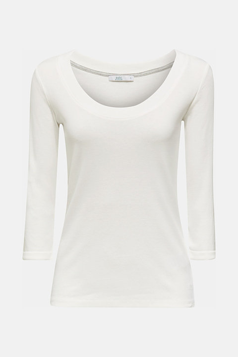 Finely ribbed, long sleeve top, 100% cotton