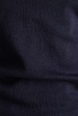 Finely ribbed, long sleeve top, 100% cotton, NAVY, detail