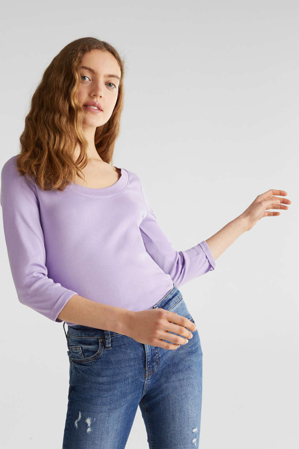 edc - Finely ribbed, long sleeve top, 100% cotton