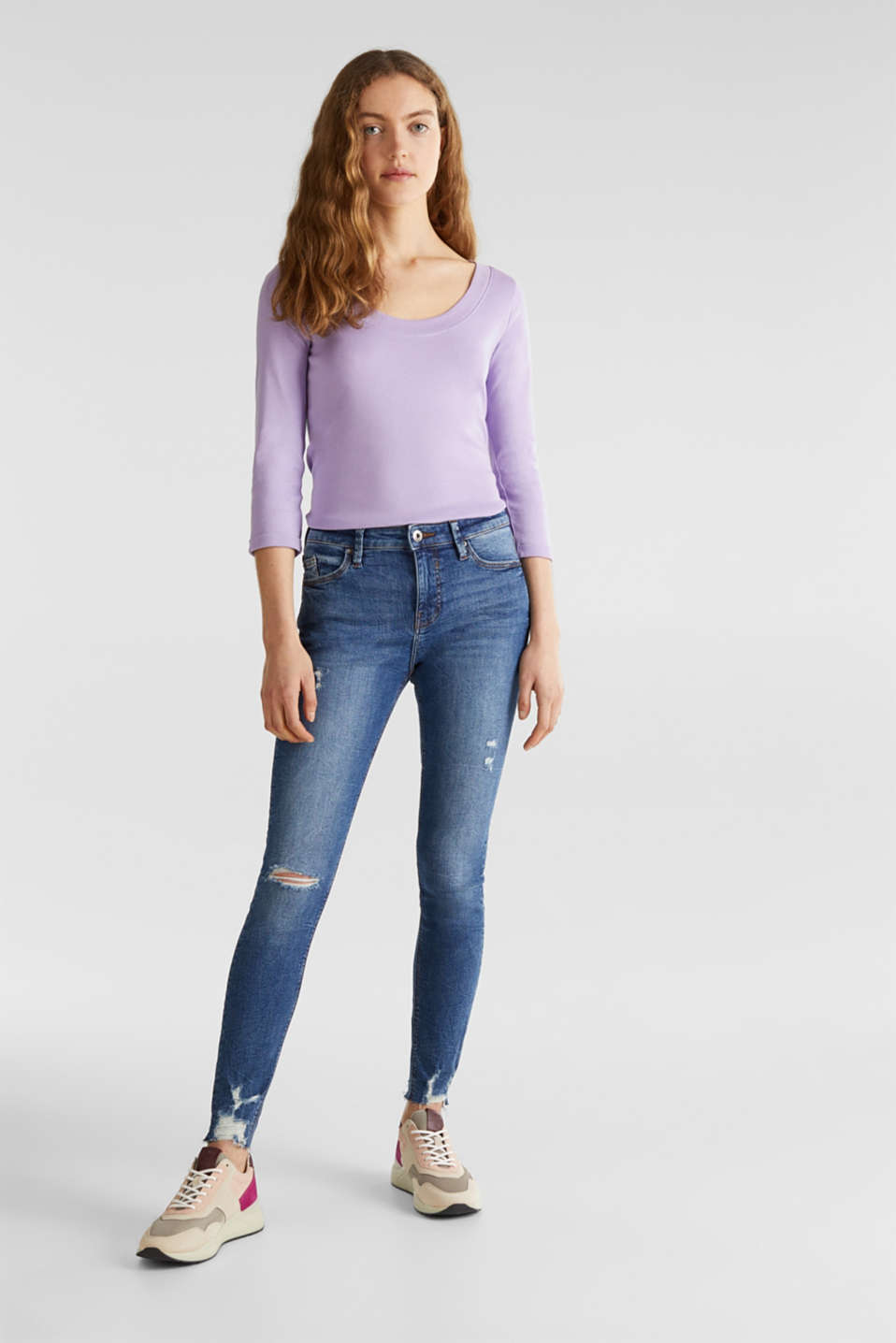 Finely ribbed, long sleeve top, 100% cotton, LILAC 4, detail image number 1