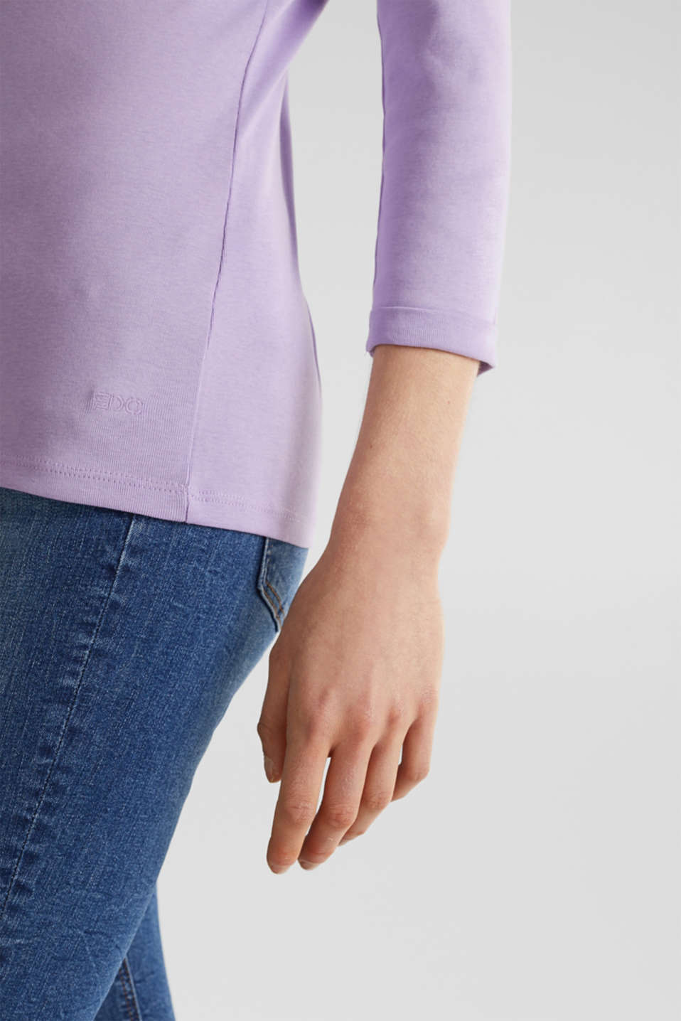 Finely ribbed, long sleeve top, 100% cotton, LILAC 4, detail image number 4