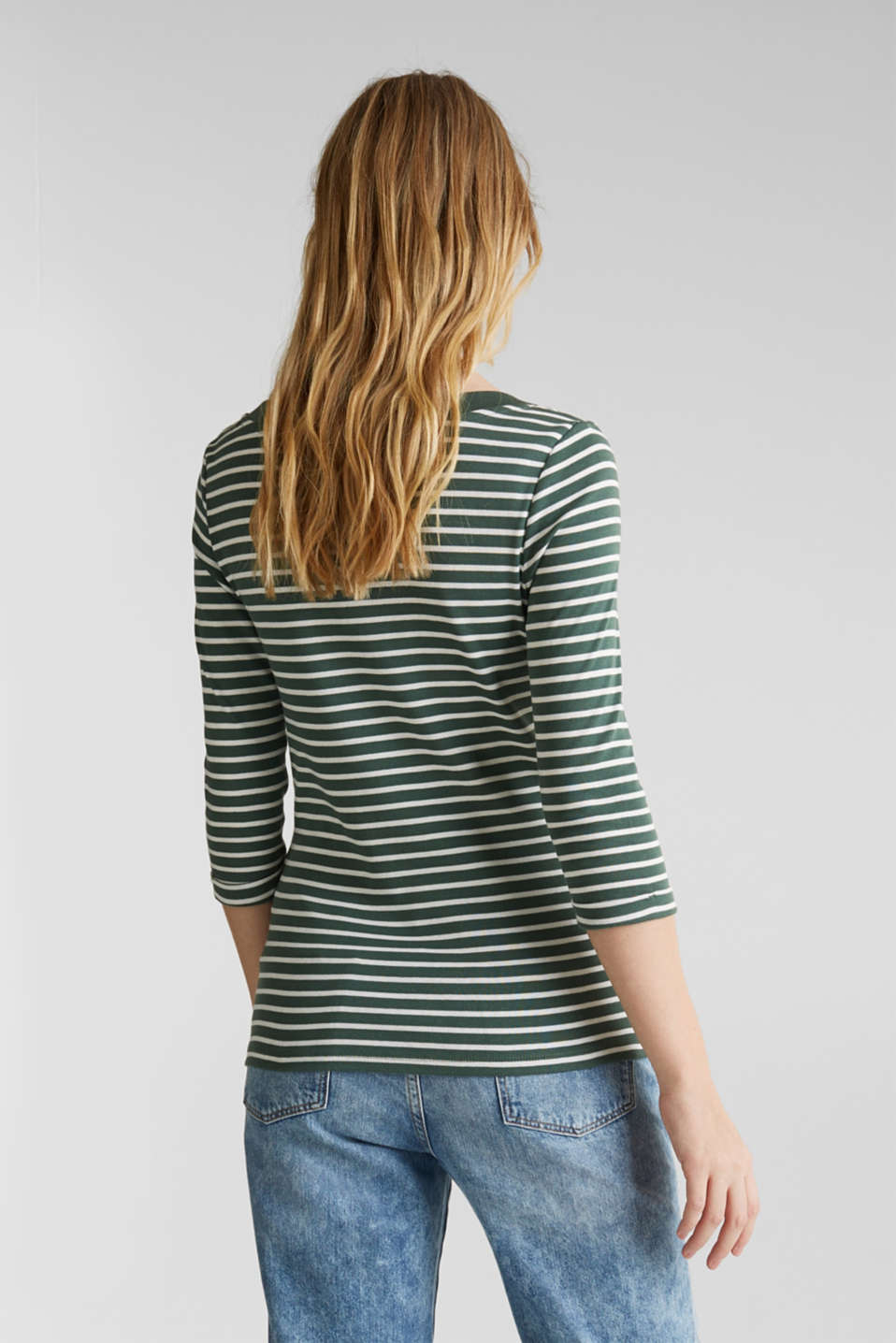 Finely ribbed long sleeve top made of 100% cotton, KHAKI GREEN 4, detail image number 2