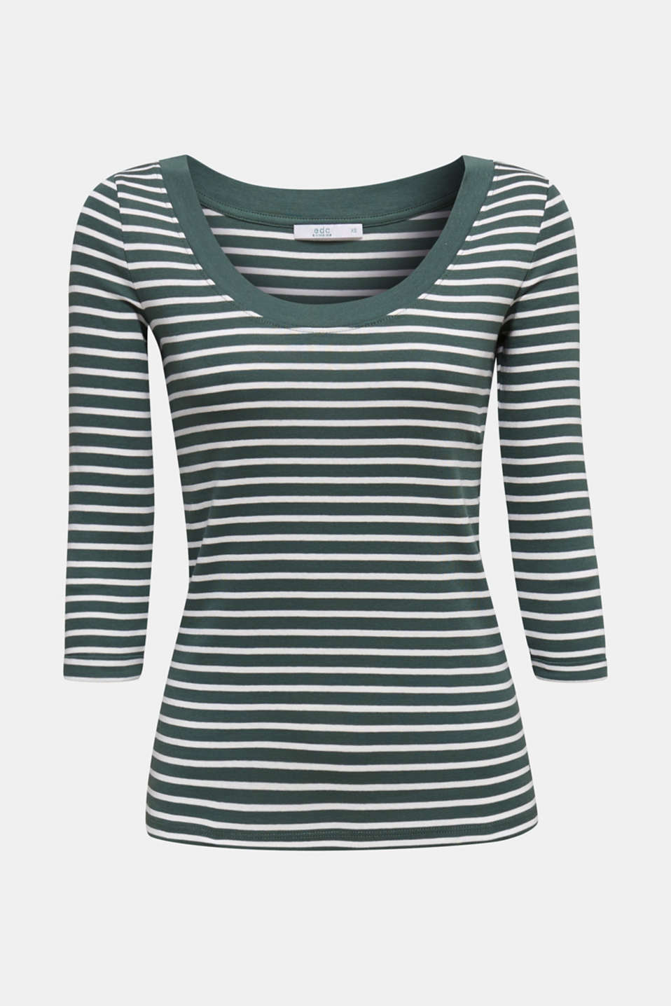 Finely ribbed long sleeve top made of 100% cotton, KHAKI GREEN 4, detail image number 5