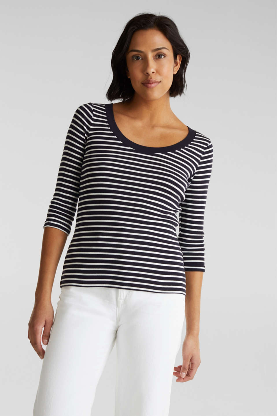Finely ribbed long sleeve top made of 100% cotton, NAVY, detail image number 0