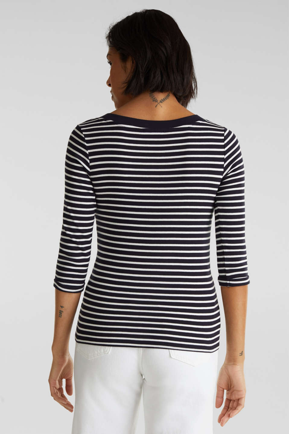 Finely ribbed long sleeve top made of 100% cotton, NAVY, detail image number 3