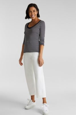 Finely ribbed long sleeve top made of 100% cotton, NAVY, detail