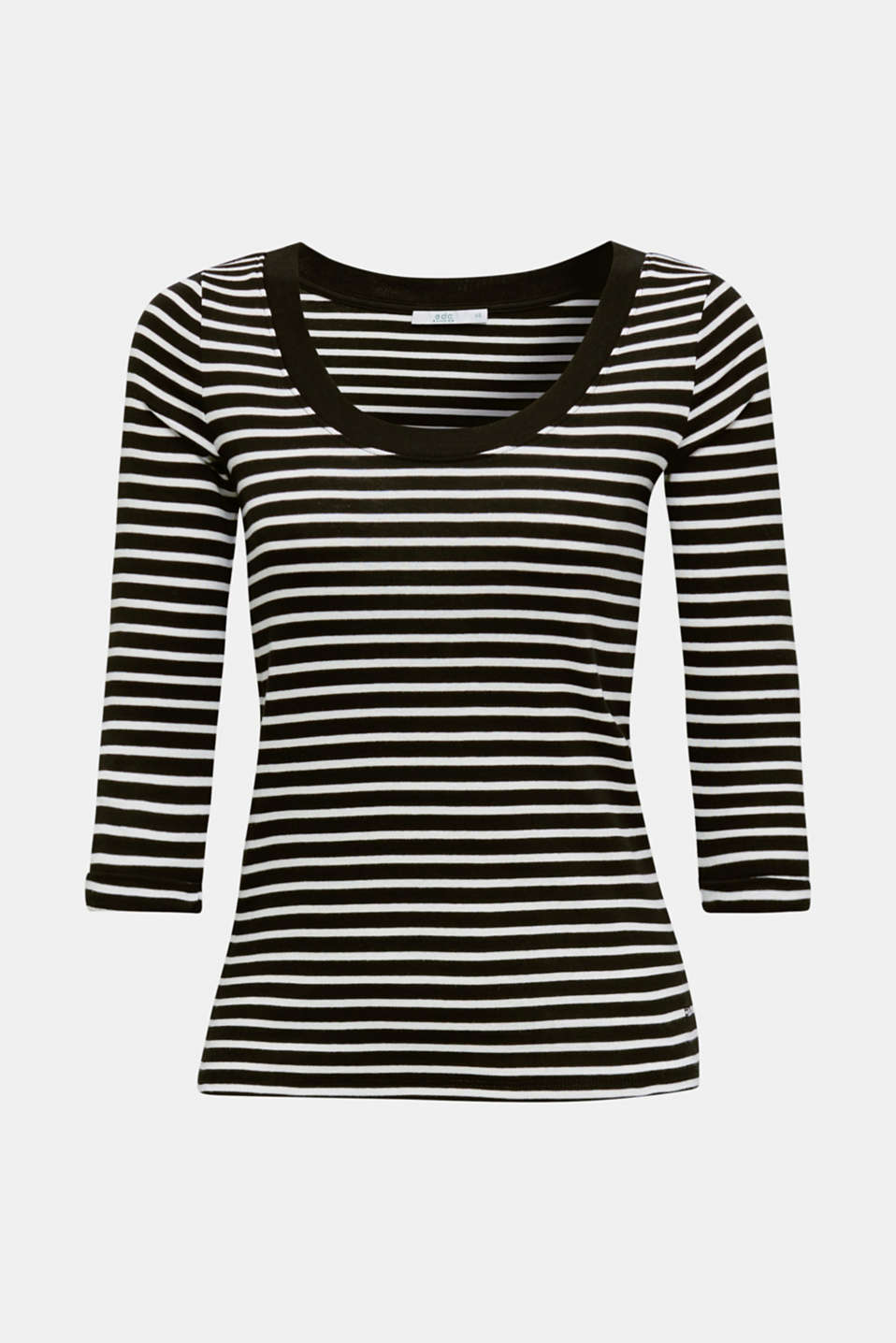 Finely ribbed long sleeve top made of 100% cotton, NAVY, detail image number 5