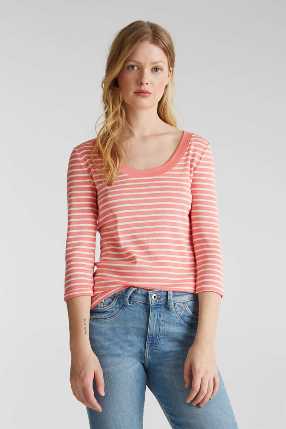 Finely ribbed long sleeve top made of 100% cotton, CORAL 3, detail image number 0