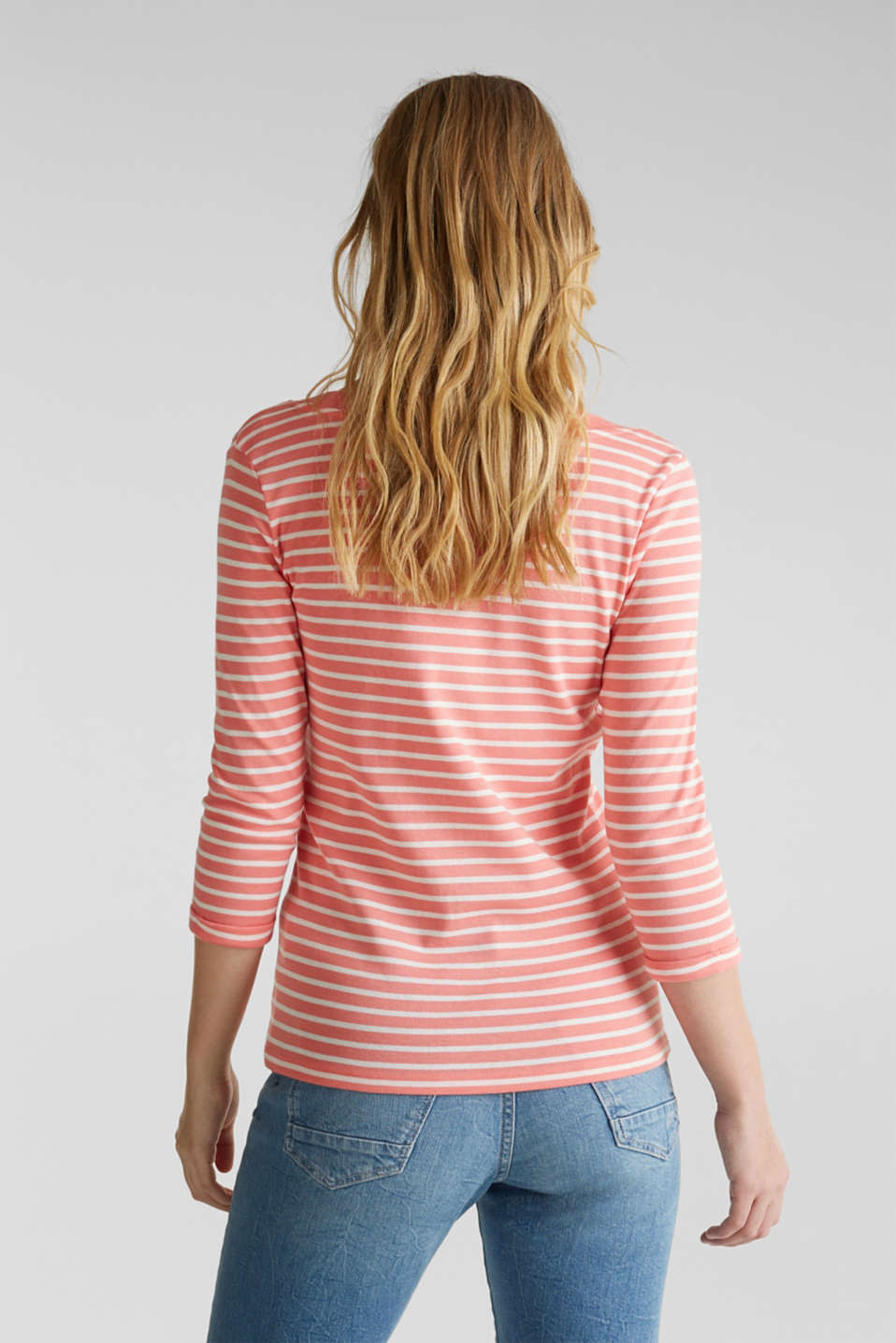 Finely ribbed long sleeve top made of 100% cotton, CORAL 3, detail image number 3