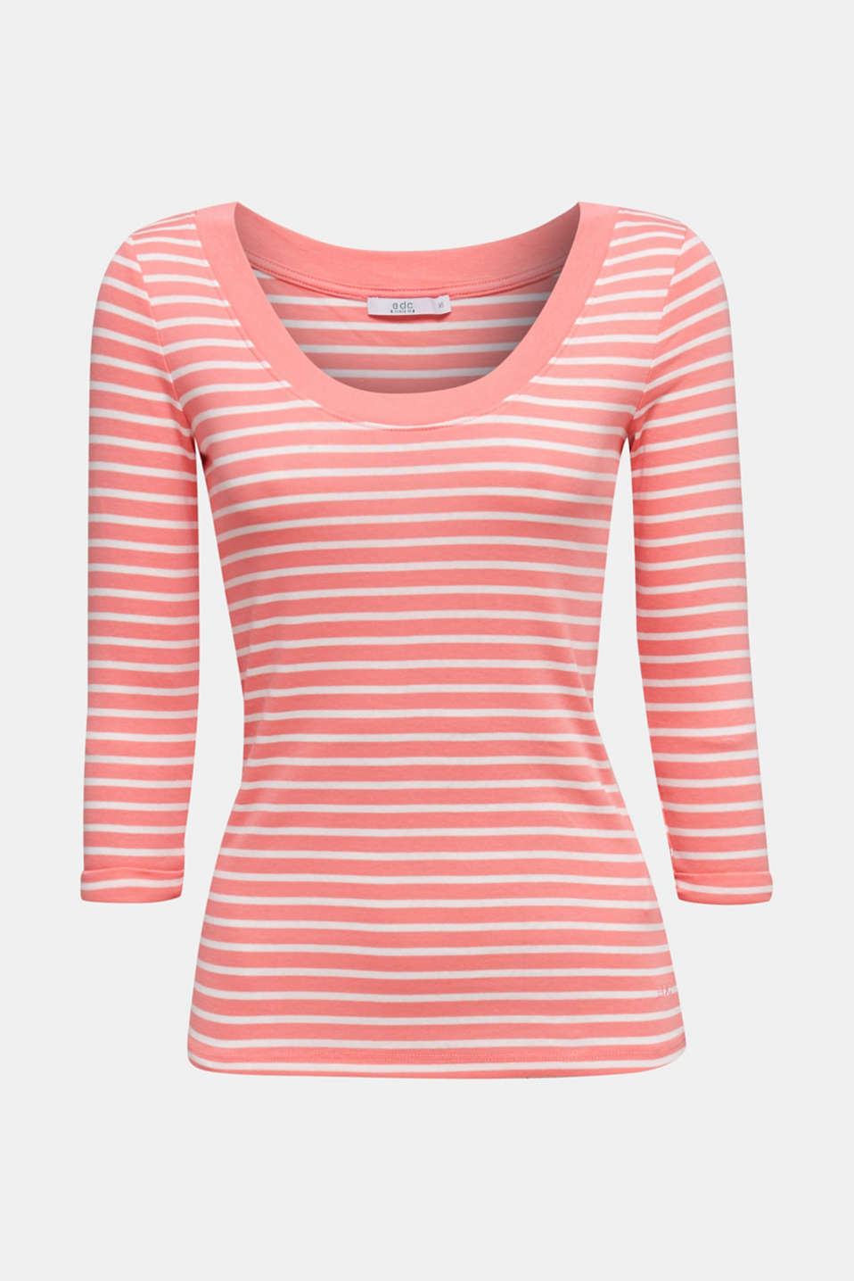 Finely ribbed long sleeve top made of 100% cotton, CORAL 3, detail image number 6