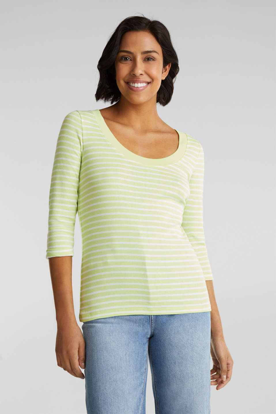 edc - Finely ribbed long sleeve top made of 100% cotton