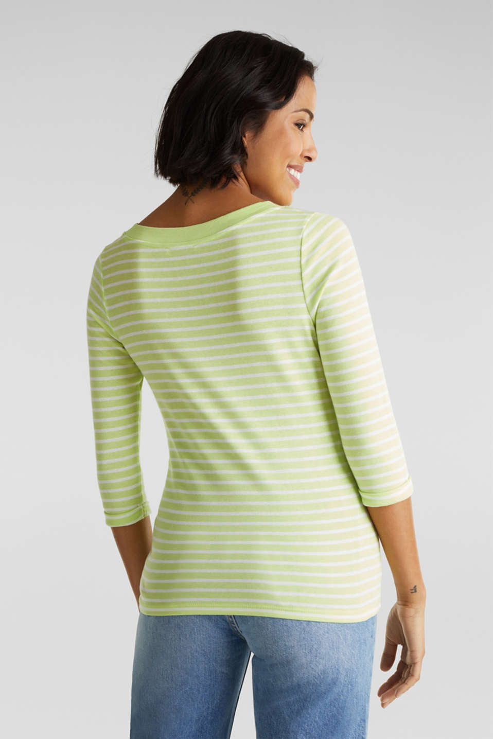 Finely ribbed long sleeve top made of 100% cotton, LIME YELLOW 4, detail image number 3