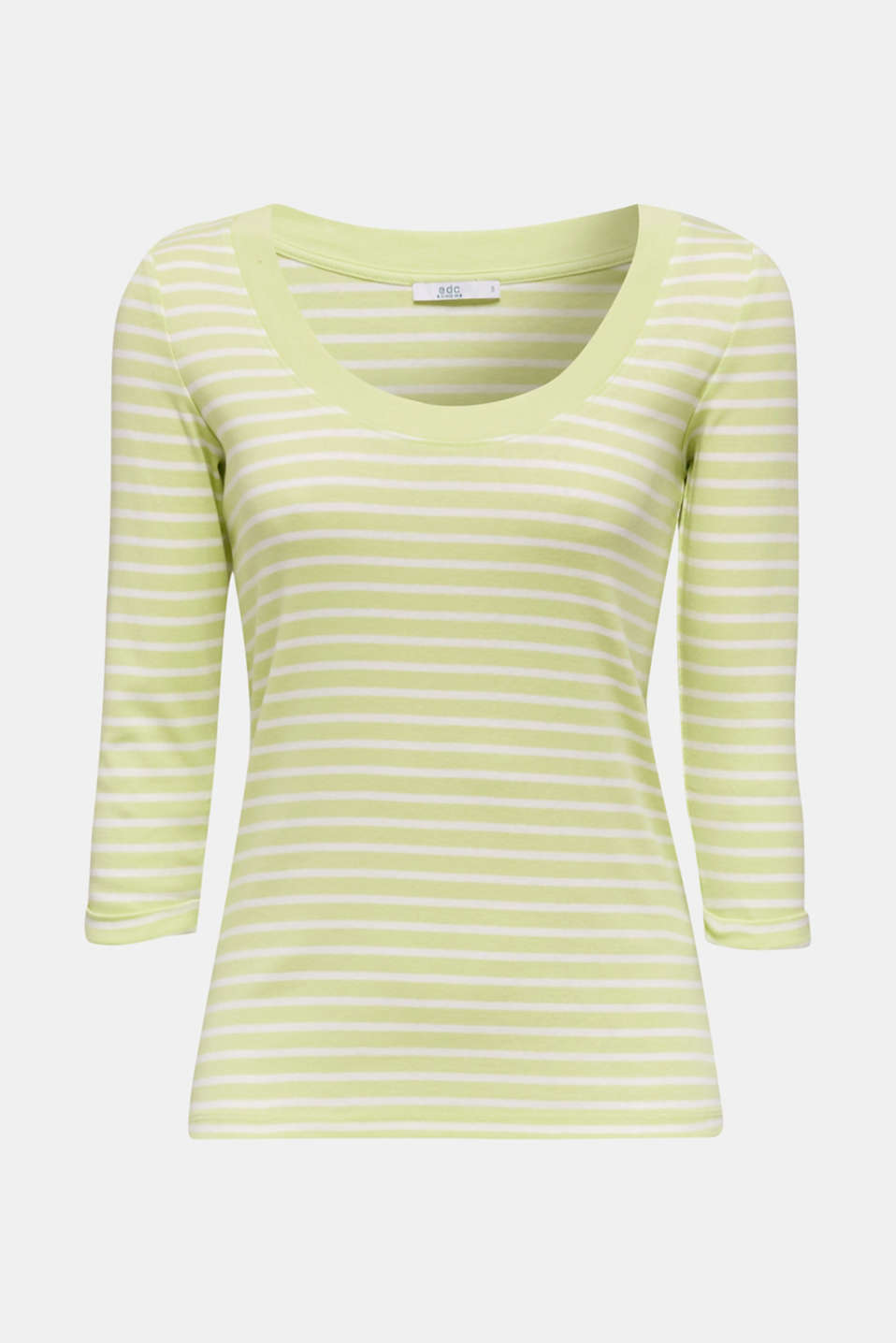 Finely ribbed long sleeve top made of 100% cotton, LIME YELLOW 4, detail image number 6