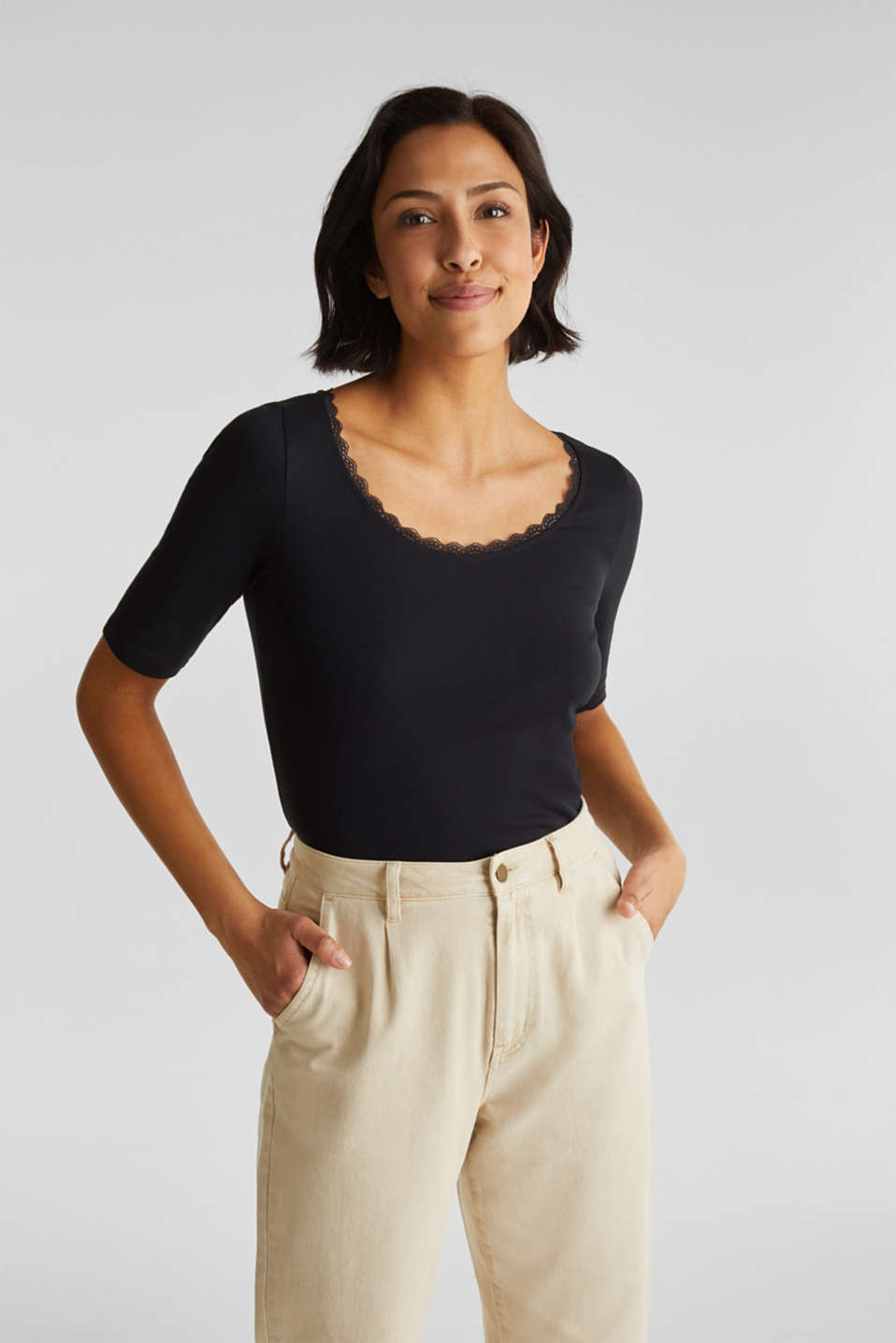 edc - Ribbed shirt with a lace-trimmed neckline, 100% cotton