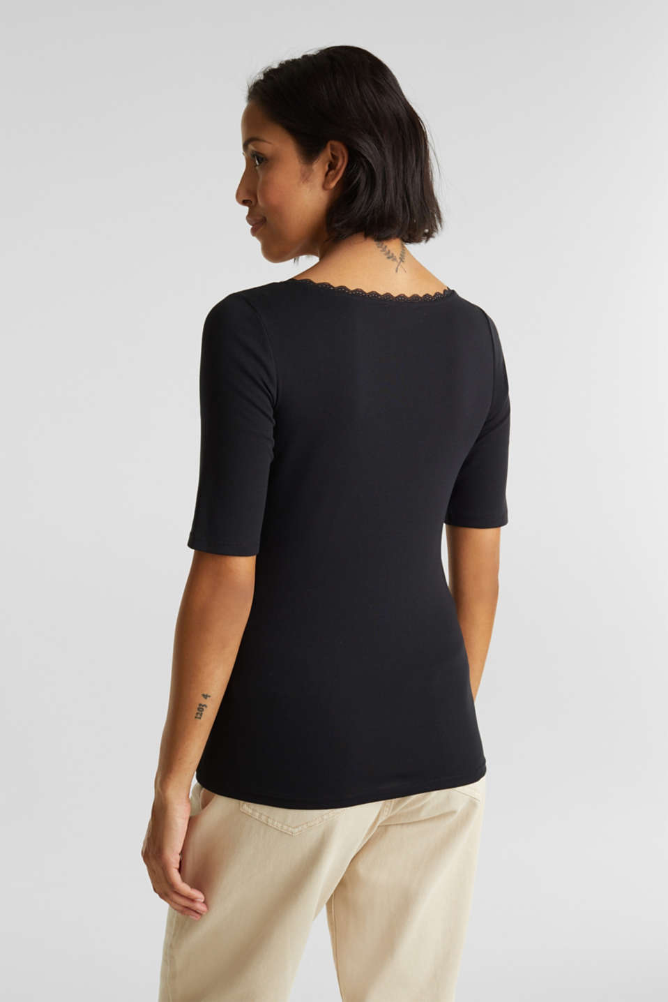 Ribbed shirt with a lace-trimmed neckline, 100% cotton, BLACK, detail image number 3