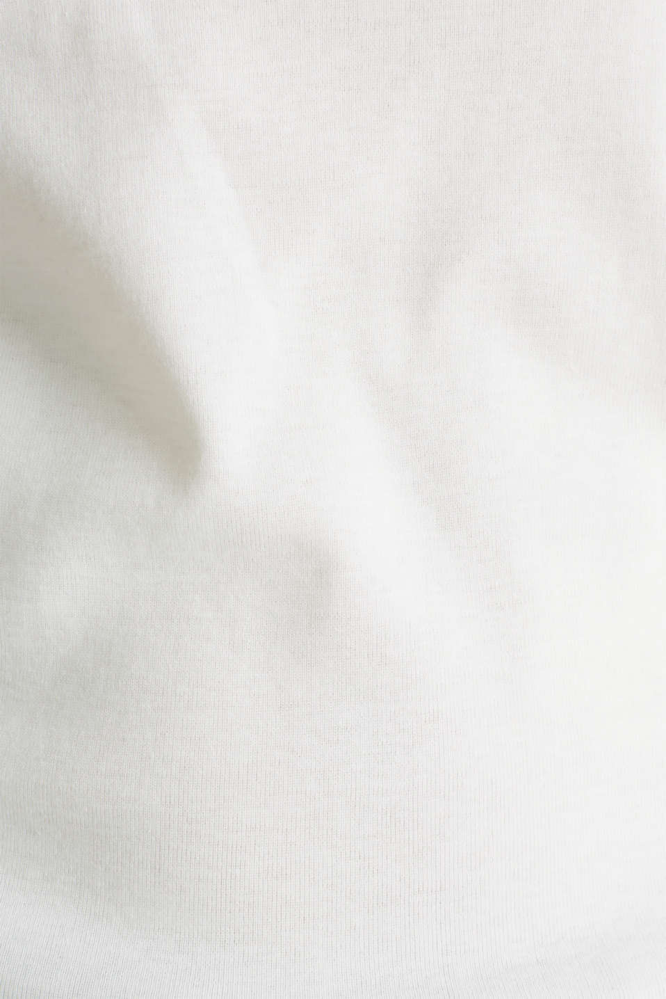 Ribbed shirt with a lace-trimmed neckline, 100% cotton, OFF WHITE, detail image number 4