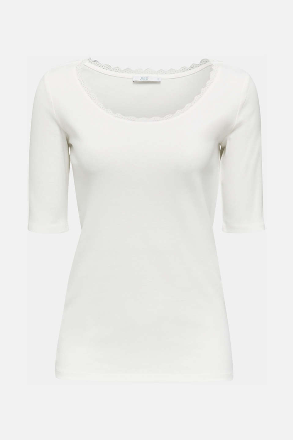 Ribbed shirt with a lace-trimmed neckline, 100% cotton, OFF WHITE, detail image number 6