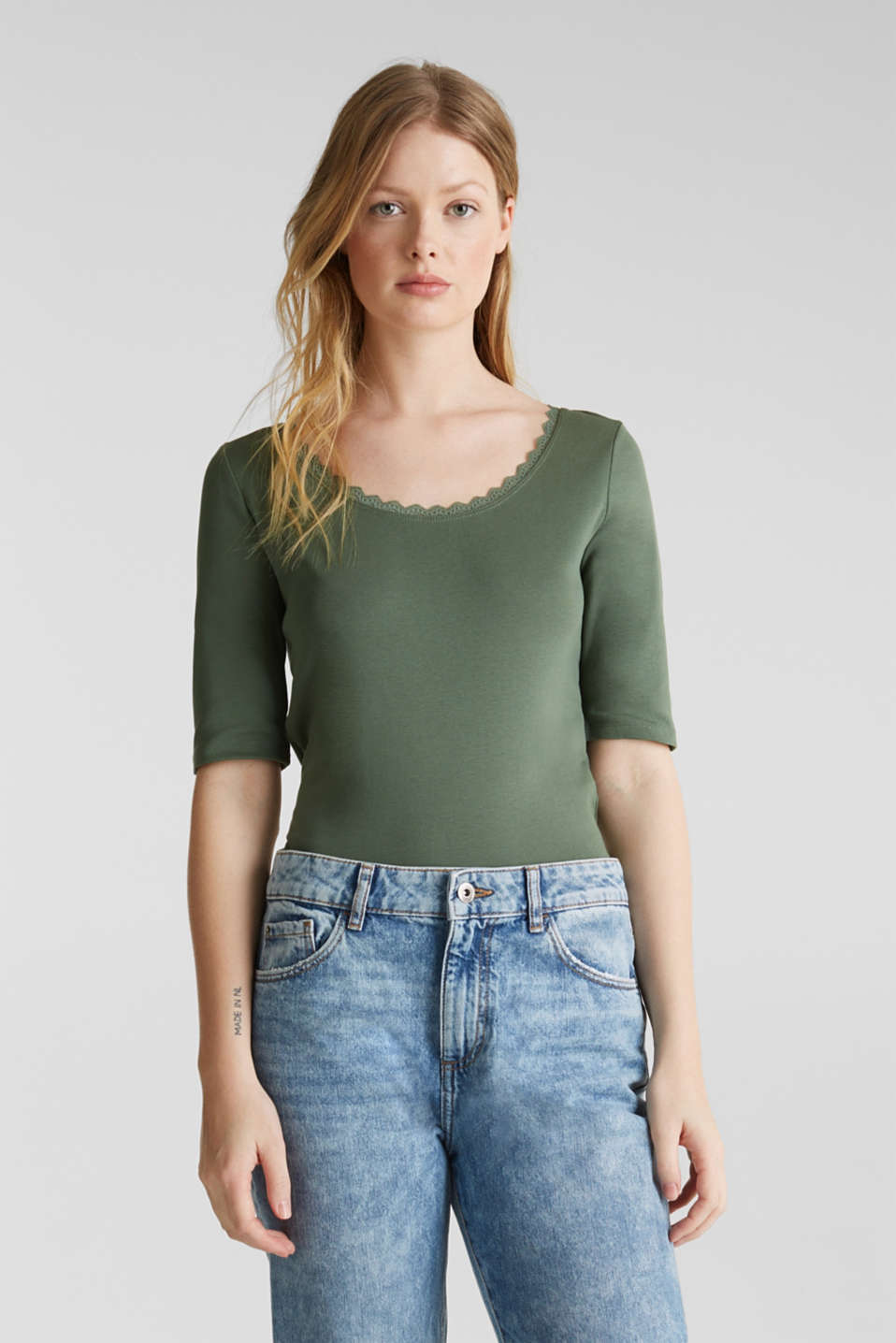 Ribbed shirt with a lace-trimmed neckline, 100% cotton, KHAKI GREEN 4, detail image number 0