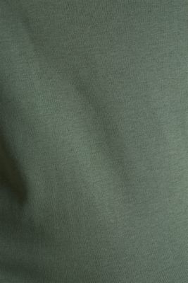 Ribbed shirt with a lace-trimmed neckline, 100% cotton, KHAKI GREEN 4, detail