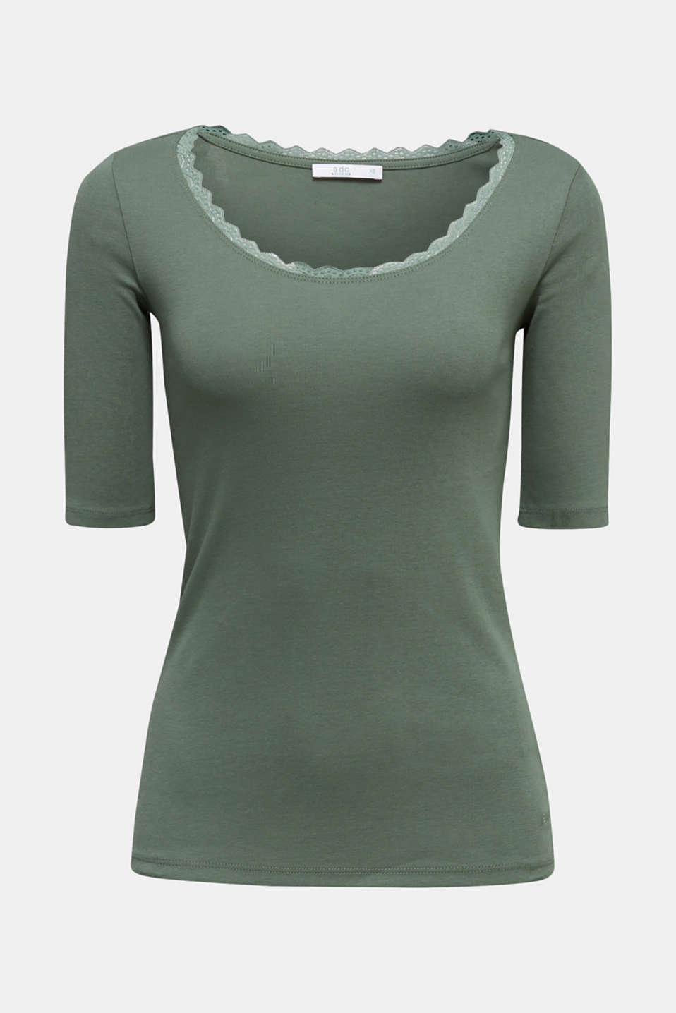 Ribbed shirt with a lace-trimmed neckline, 100% cotton, KHAKI GREEN 4, detail image number 6