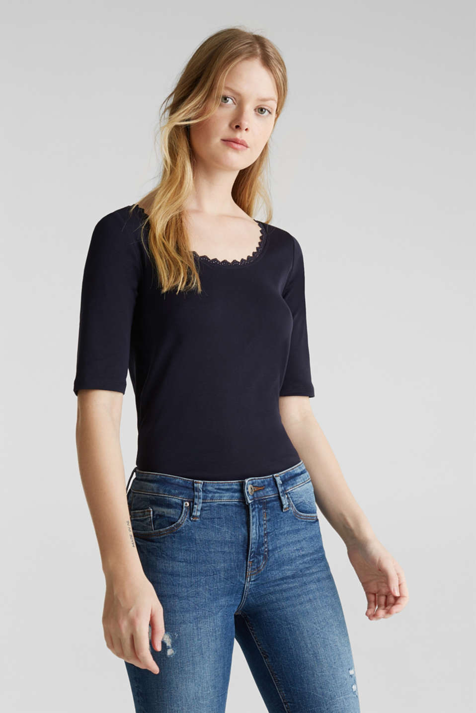 Ribbed shirt with a lace-trimmed neckline, 100% cotton, NAVY, detail image number 0