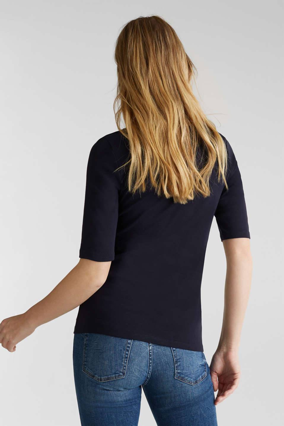 Ribbed shirt with a lace-trimmed neckline, 100% cotton, NAVY, detail image number 3
