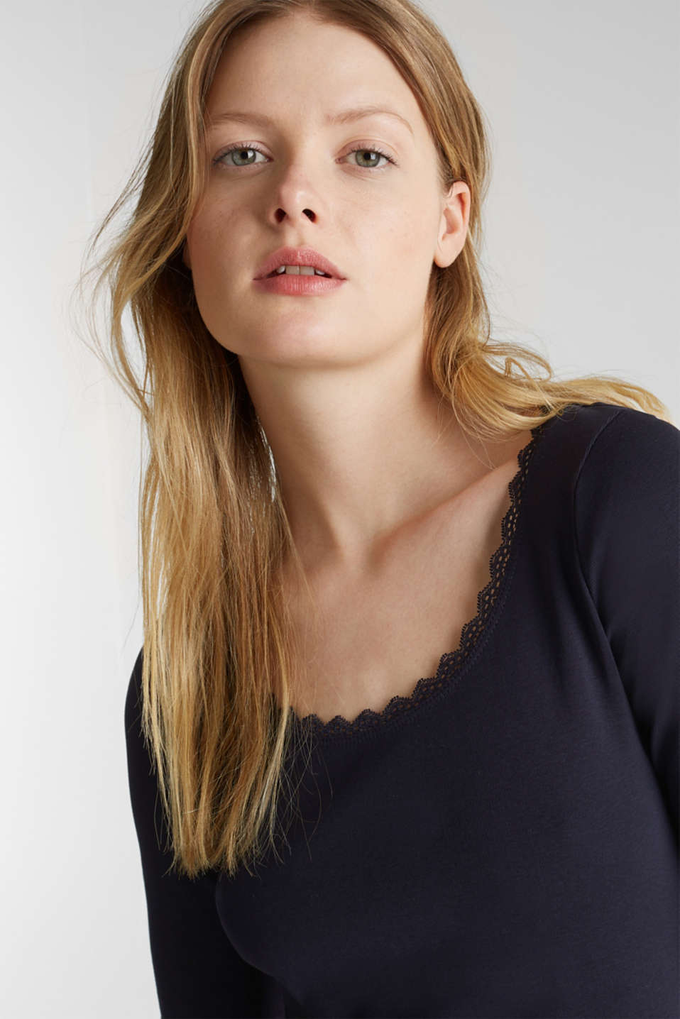 Ribbed shirt with a lace-trimmed neckline, 100% cotton, NAVY, detail image number 2