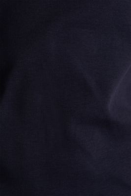 Ribbed shirt with a lace-trimmed neckline, 100% cotton, NAVY, detail