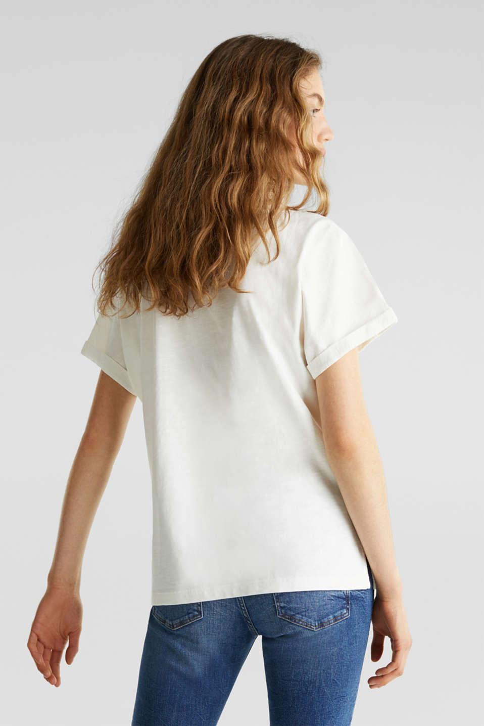 Slub T-shirt with art print, 100% cotton, OFF WHITE, detail image number 3