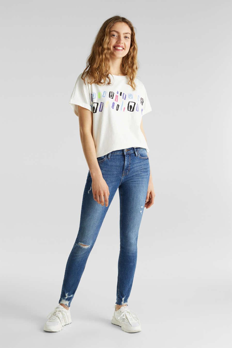 Slub T-shirt with art print, 100% cotton, OFF WHITE, detail image number 1
