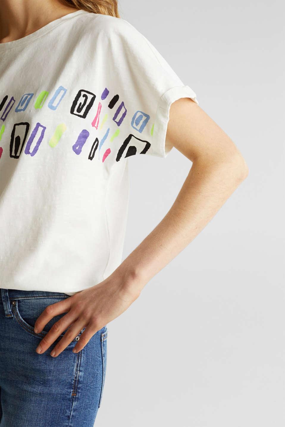 Slub T-shirt with art print, 100% cotton, OFF WHITE, detail image number 2