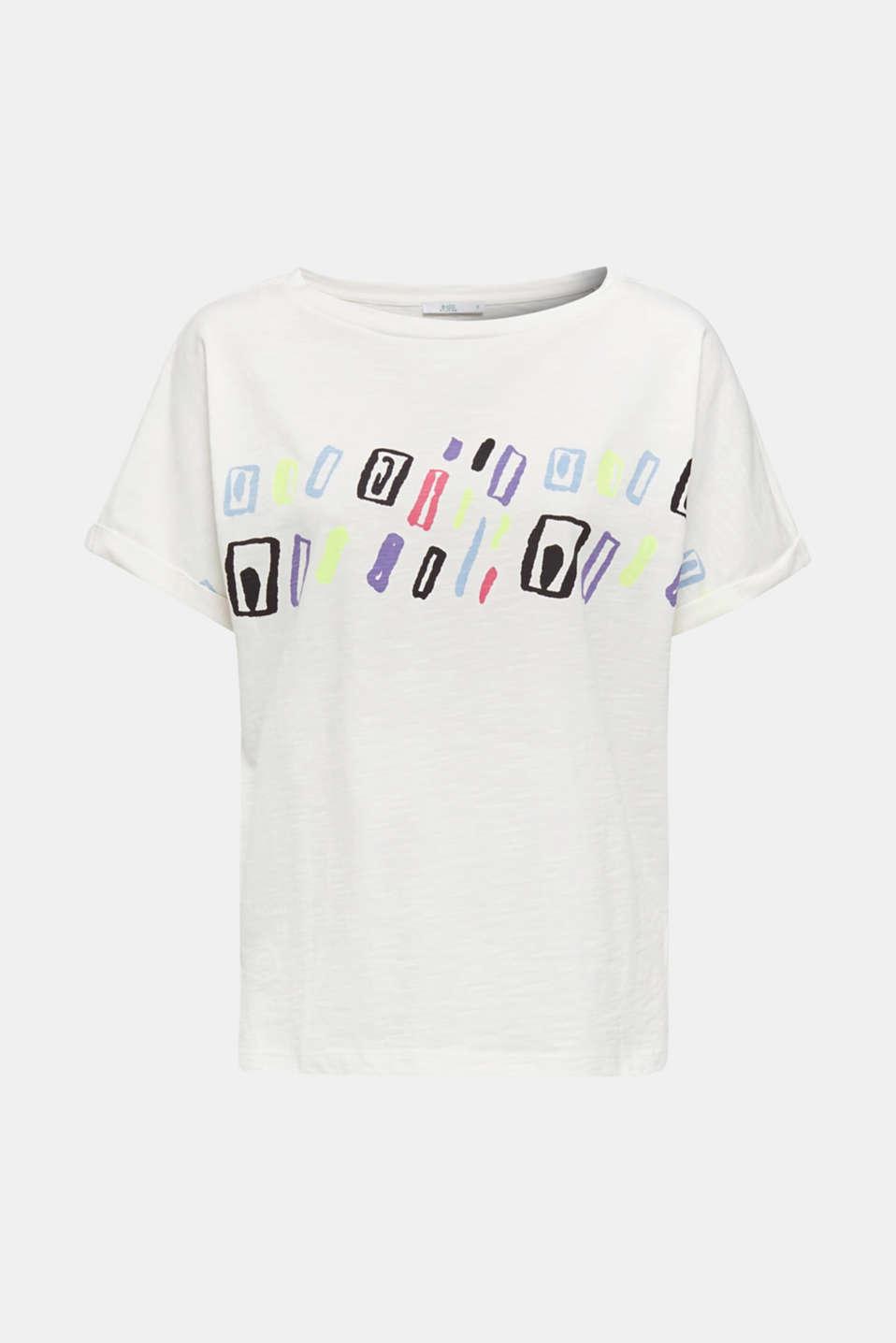 Slub T-shirt with art print, 100% cotton, OFF WHITE, detail image number 6